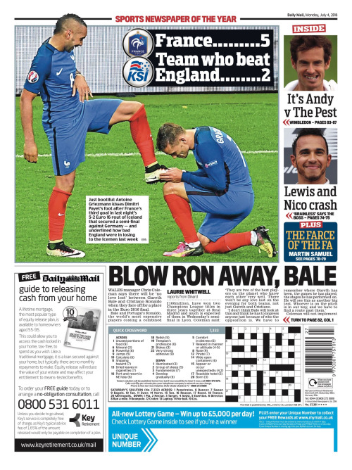 Capa do Jornal Daily Mail Sports