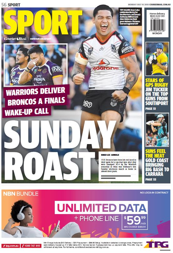 Capa do jornal Courier Mail Sport