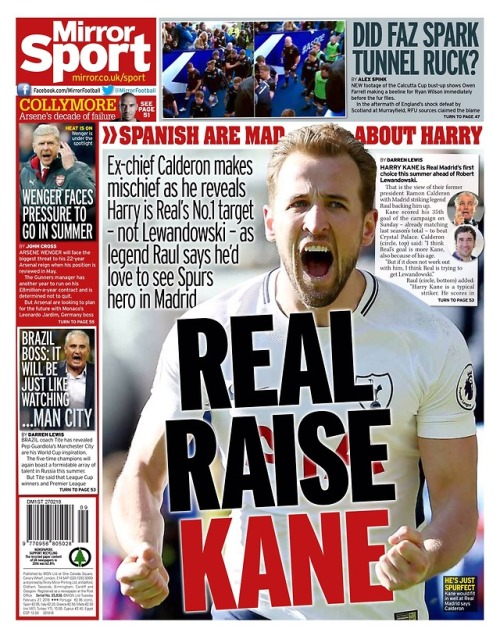 Capa do Jornal Daily Mirror Sports