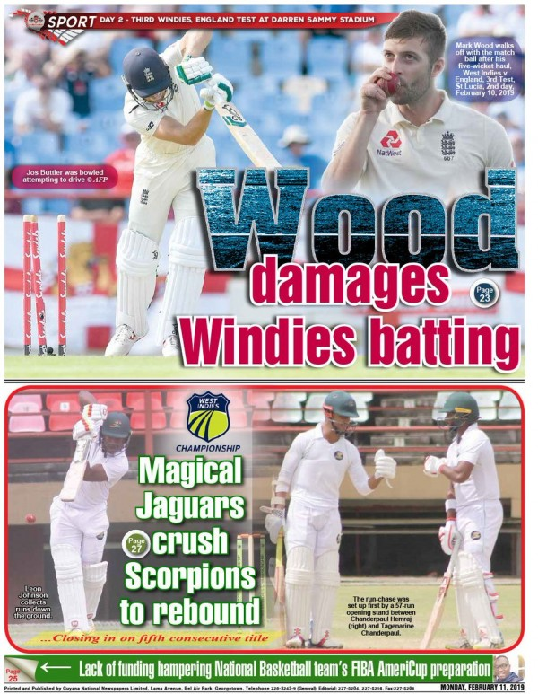 Capa do jornal Guyana Chronicle Sports