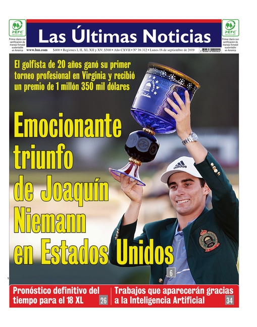 Capa do jornal Las Ultimas Noticias