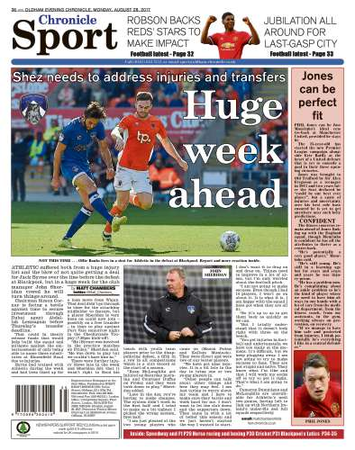 Capa do Jornal Oldham Chronicle Sports