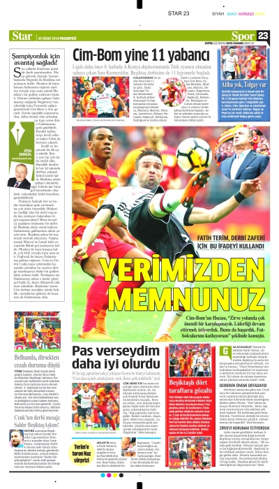 Capa do Jornal Star Gazetesi Sports