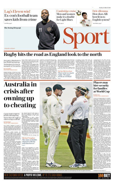 Capa do Jornal The Daily Telegraph Sports