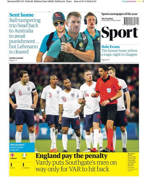 Capa do Jornal The Guardian (sports)