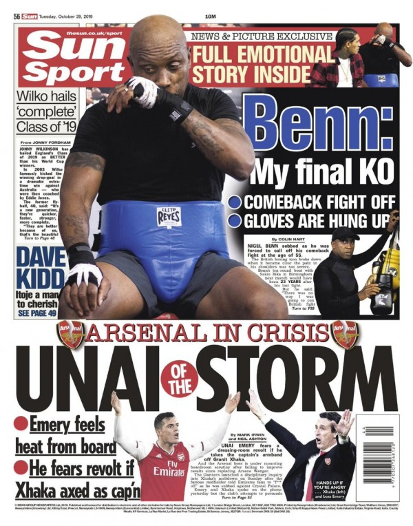 Capa do Jornal The Sun Sports