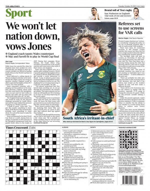 Capa do Jornal The Times Sports