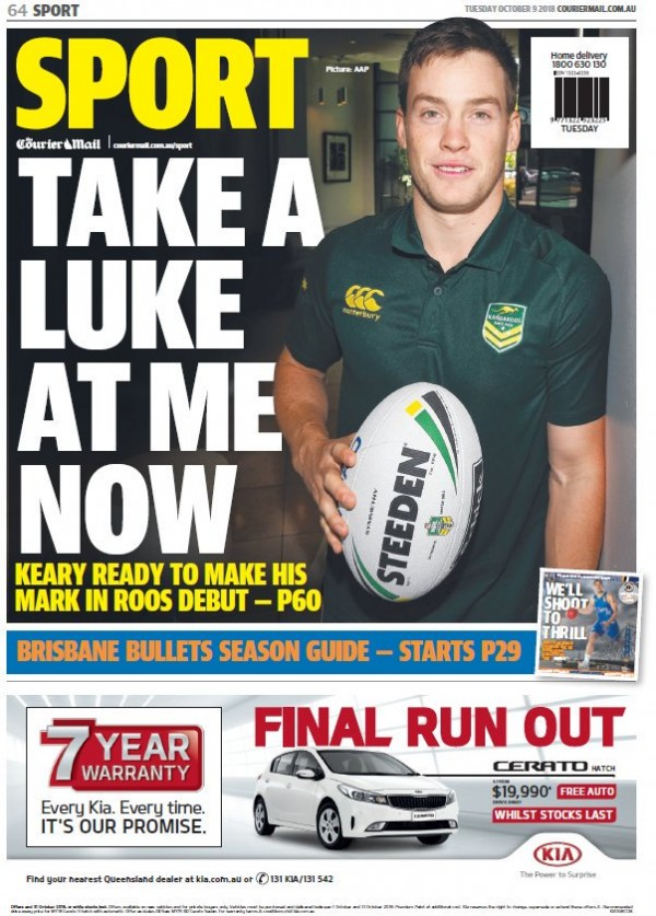 Capa do jornal Townsville Bulletin Sports